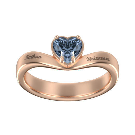 Personalize Rings 18K Rose Gold Plating / 5 Big Heart Ring With Birthstone