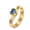 Personalize Rings 18K Gold Plating / 5 Big Heart Ring With Birthstone