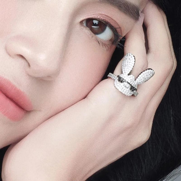 Animal Ring S925 Pure Silver High-End Micro Inlaid Crystal Diamond Lovely Glasses Rabbit Ring