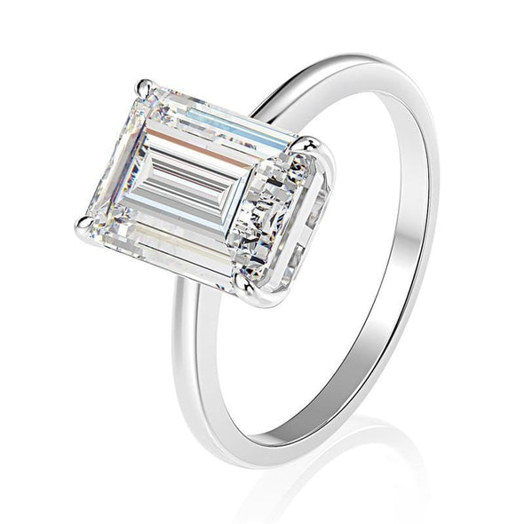 Solitaire Ring US5 Emerald Cut Created White Diamond Solitaire Ring