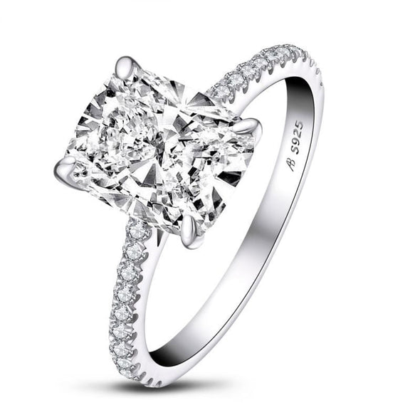 Classic Engagement Ring US5 / White Cushion Cut Rose Gold White Gold Plated Created Diamond Ring