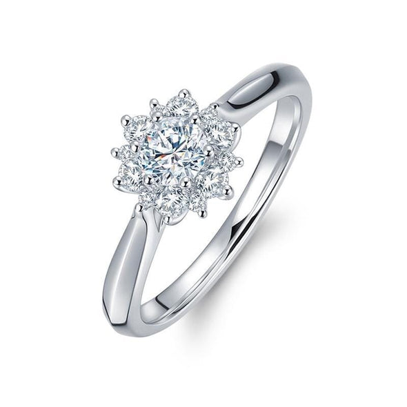 Halo Ring US4 Halo Flower Design Created Diamond Ring