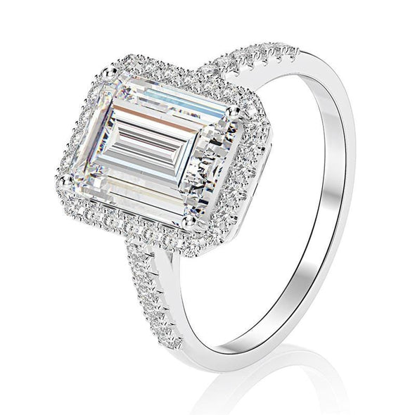 Halo Ring US5 Emerald Cut Sterling Silver Halo Ring