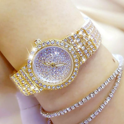 Watch gold Bee Sister - Diamond Small Women's Quartz Watch (with a ins Bracelet as gift) FHW003