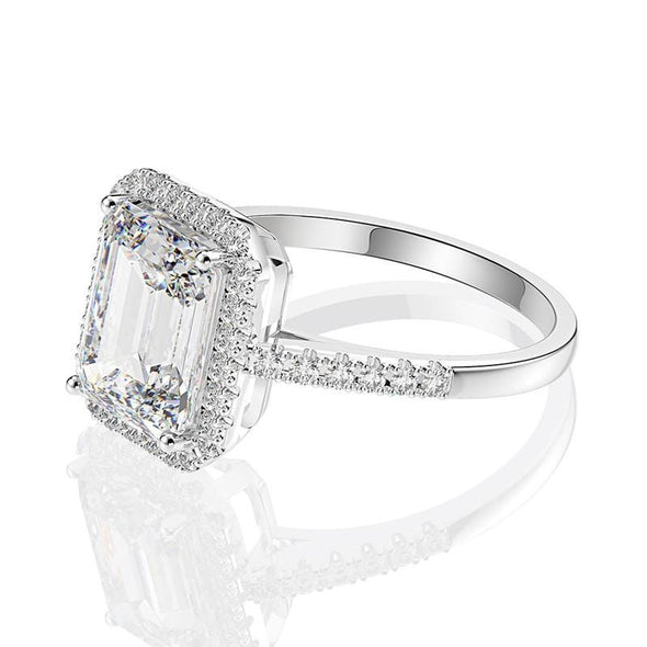 Halo Ring Emerald Cut Sterling Silver Halo Ring
