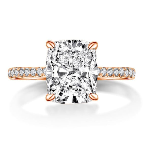 Classic Engagement Ring Cushion Cut Rose Gold White Gold Plated Created Diamond Ring