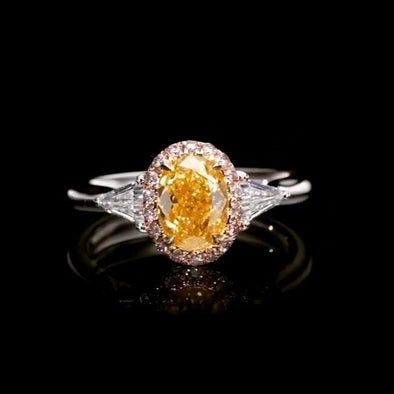 rings Handmade Fancy Yellow Three Stone Oval Cut Ring