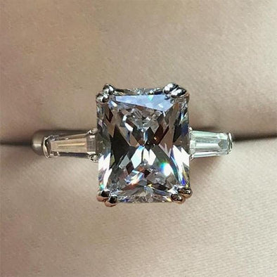 rings Handmade 3.0 CT Princess Cut Tapered Three Stone Sterling Silver Ring