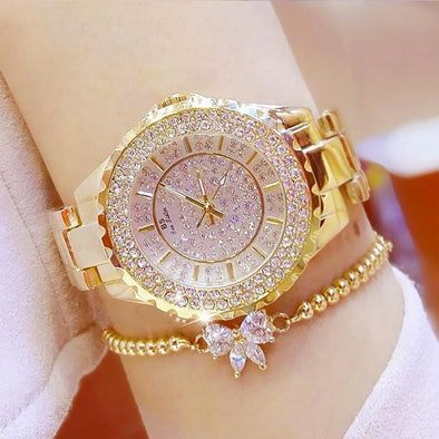 Watch gold with a bracelet Bee Sister - Diamond Ladies Women's Quartz Watch(with a ins Bracelet as gift) FHW005