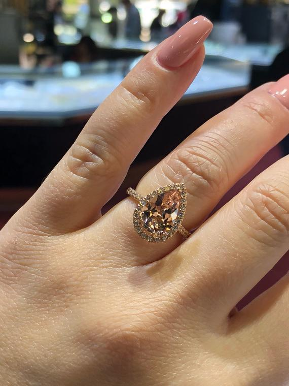 Ring Female Fashion Elegant Cubic Zirconia Ring Rose Gold Color Champagne Crystal Engagement Wedding Ring for Women Jewelry FHR023