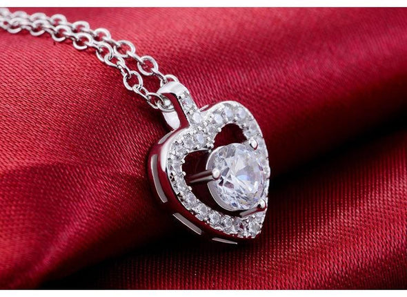Necklace 925 Sterling Silver Heart Shape Pendants necklace with Chain FHN038