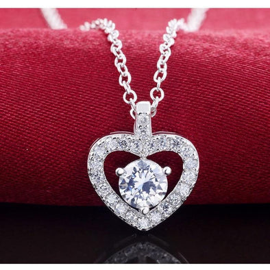 925 Sterling Silver Heart Shape Pendants necklace with Chain FHN038