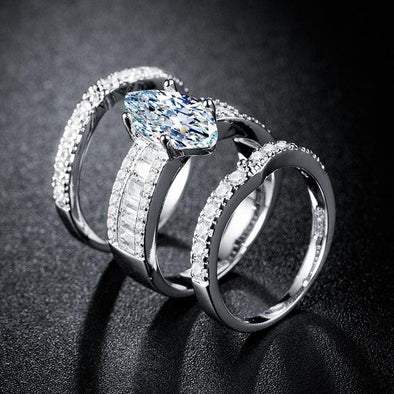 Ring 2020 Luxury Marquise 925 Silver Ring Set FHR014