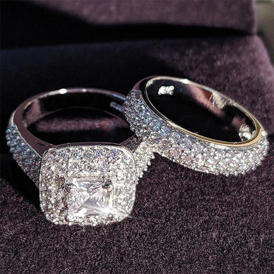 Ring 4.5 / Ring Free - Luxury 925 Silver Wedding Bridal Ring Set FHR001