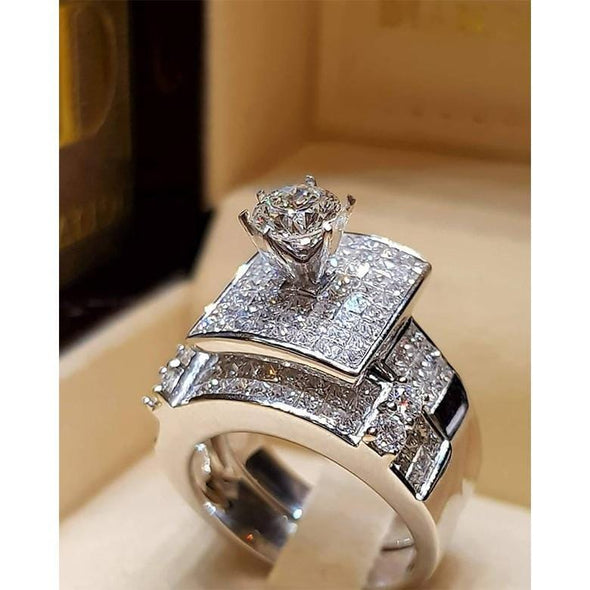 Ring 925 Sterling Silver Wedding Ring Set FHR006