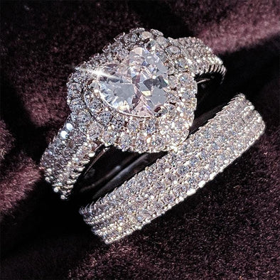 925 Silver Heart Cut Zircon Wedding Ring Set FHR002