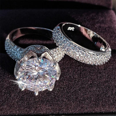 Ring Free - 925 Sterling Silver Wedding Ring Set FHR007