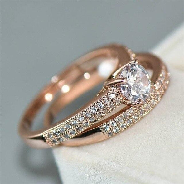 Ring 10 / rose gold 925 Silver Wedding Band Jewelry Promise Love Engagement Ring Set FHR084