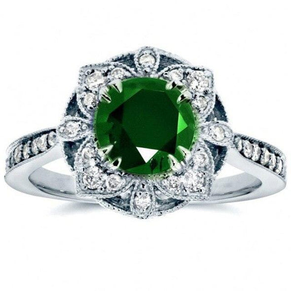 Ring 6 / Green Luxury Flower Shaped Vintage  Rings - FHR090