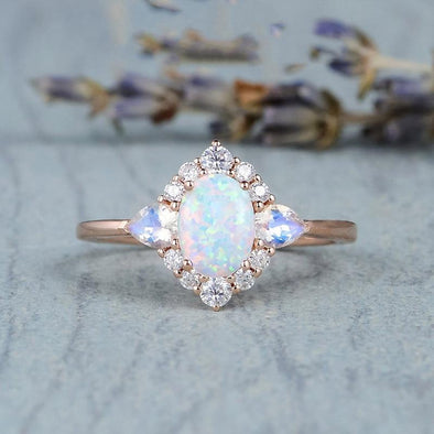 Ring Vintage Fire Opal Rings Wedding Engagement Jewelry FHR082