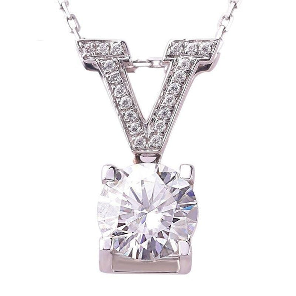 Necklace 2ct Diamond Zircon Pendant 925 Sterling Silver Party Wedding Pendants FHN040