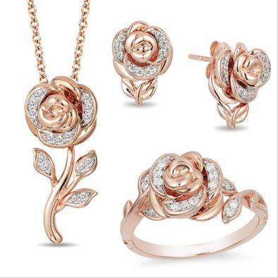 Jewelry Set 3-Pieces Sets / 6 New Fashion Creative Retro Women's Rose Flower Necklace Bracelet Earrings - FHS004
