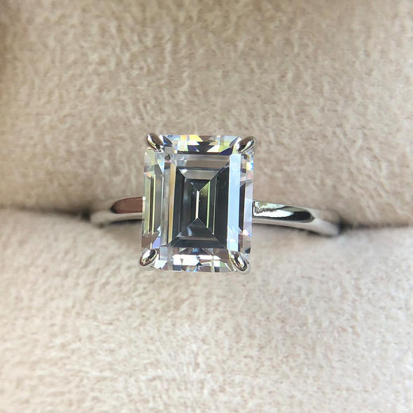 rings Simple Emerald Cut 925 Sterling Silver Ring