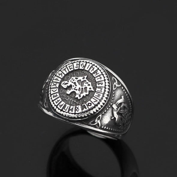 Men's Ring 9 Viking Runes Wolf Ring