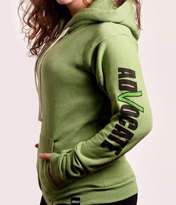 Unisex  Zip-up Hoodie Heather Kiwi (Organic Recycled)