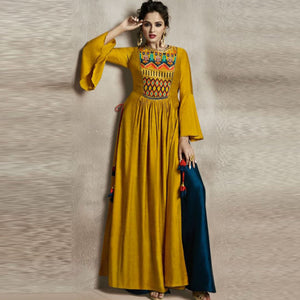 Dark Yellow Color Designer Worked Dress