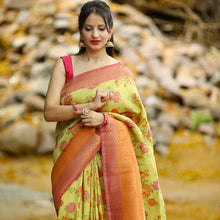 Load image into Gallery viewer, Party wear saree - Mustard Color Floral Print Fancy Saree With Blouse