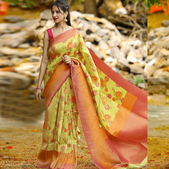Party wear saree - Mustard Color Floral Print Fancy Saree With Blouse