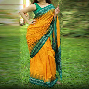 Party wear saree - Party-Wear-Mustard-Green-Color-Fancy-Saree