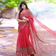 Load image into Gallery viewer, Designer saree - The floral Pattern Designer Vichitra Silk Saree