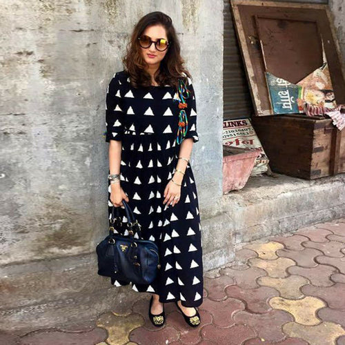 Black & White Color Heavy Rayon Kurti