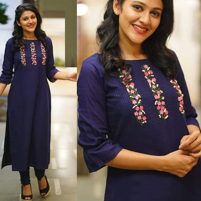 Fancy Dark Blue Color Kurti