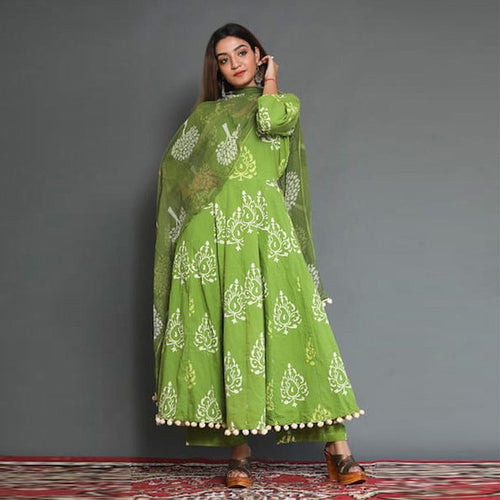 Designer Cotton Green Color Kurti