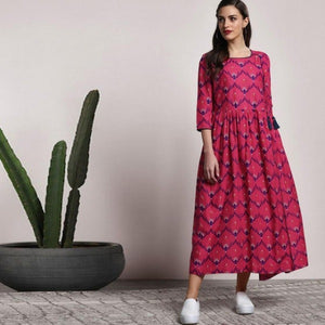 Rayon Pink And Blue Colored Festive Wear Kurti