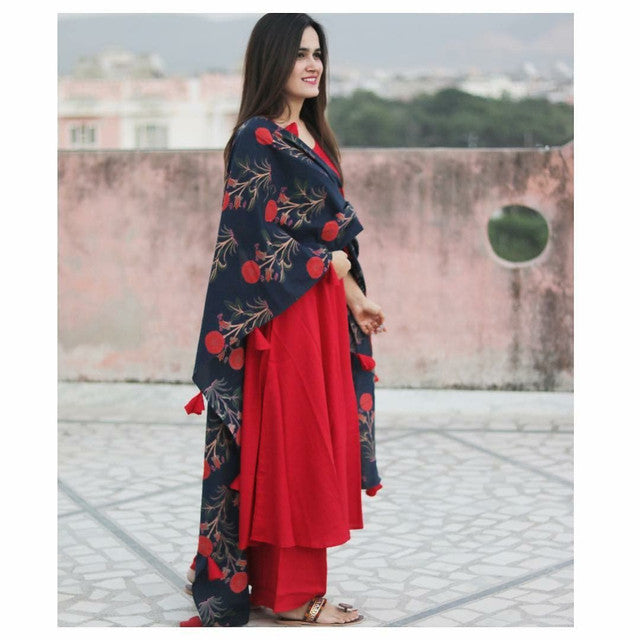 Beautiful Red Color Suit With Digital Print Dupatta