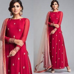 Gorgeous Red Color Embroidared Suit