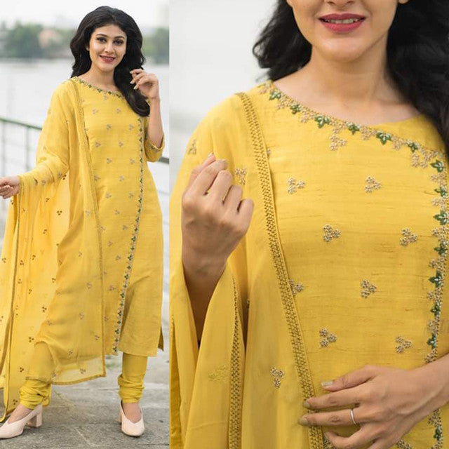 Gorgeous Yellow Color Suit With Dupatta