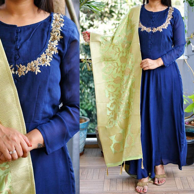 Designer Royal Blue Color Suit With Dupatta