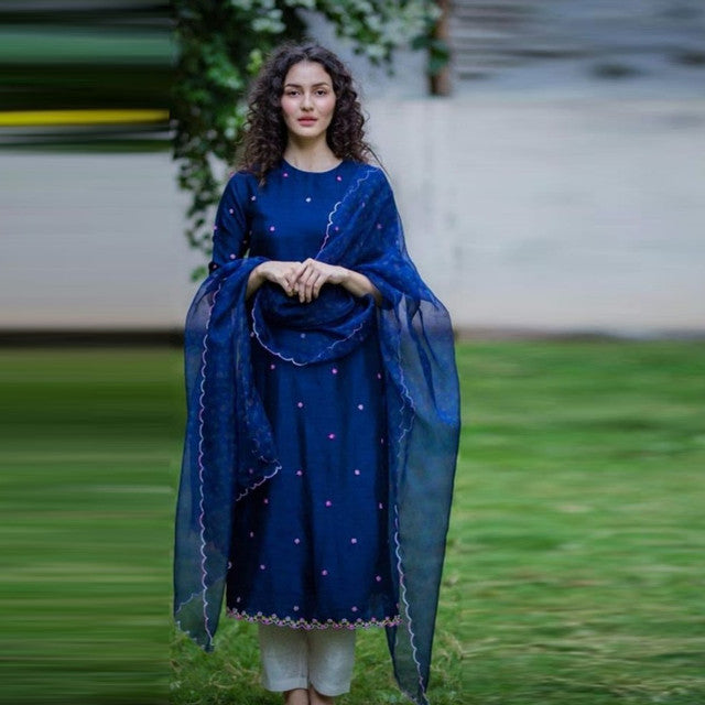 Beautiful Blue Color Heavy Rayon Suit With Dupatta