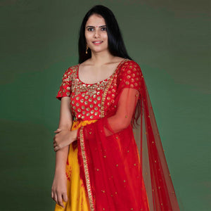 Designer Multi Color Suit With Net Dupatta