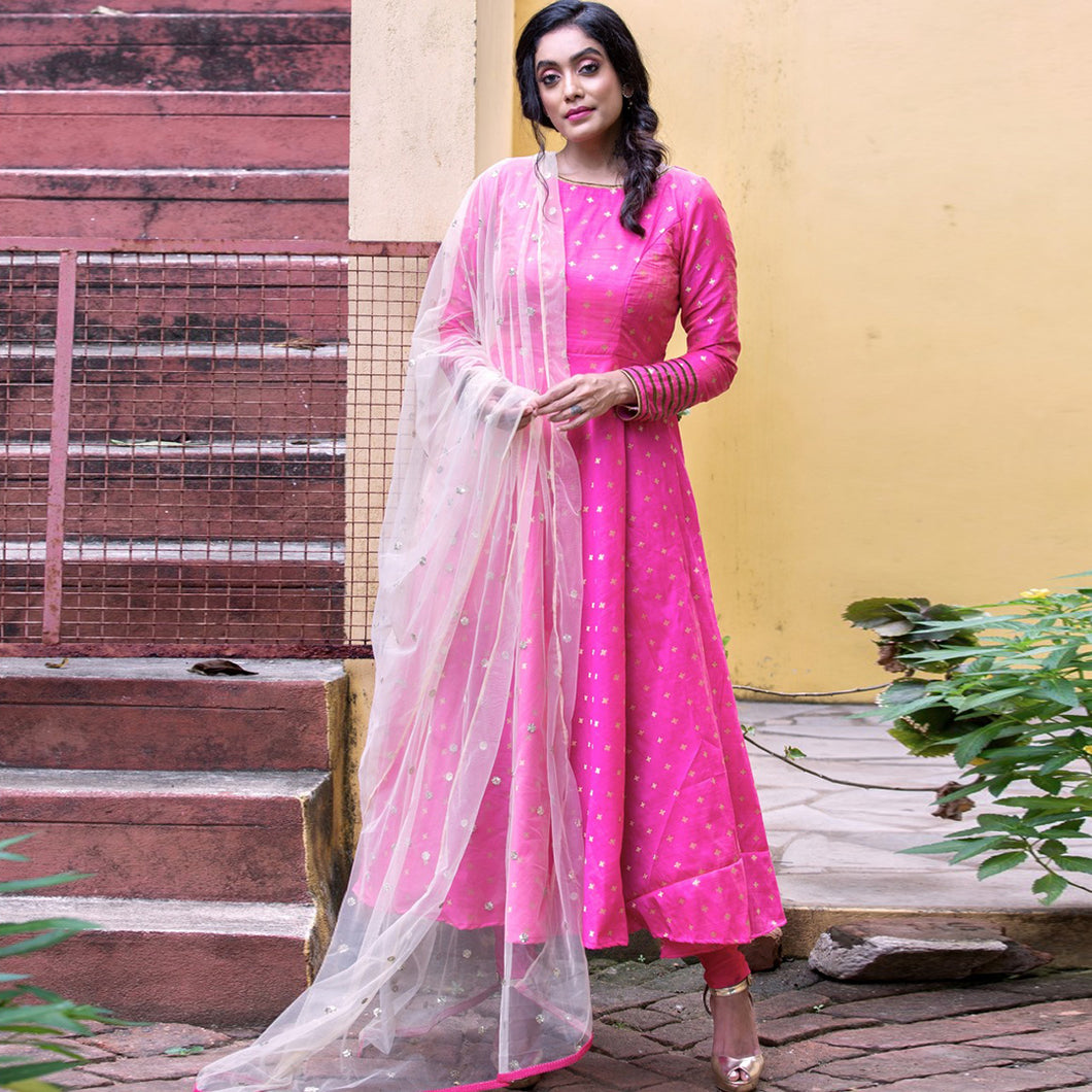 Pretty Pink Color Suit With Dupatta