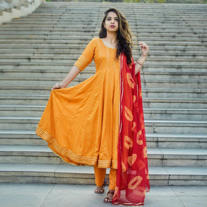Gorgeous Orange Color Suit With Dupatta