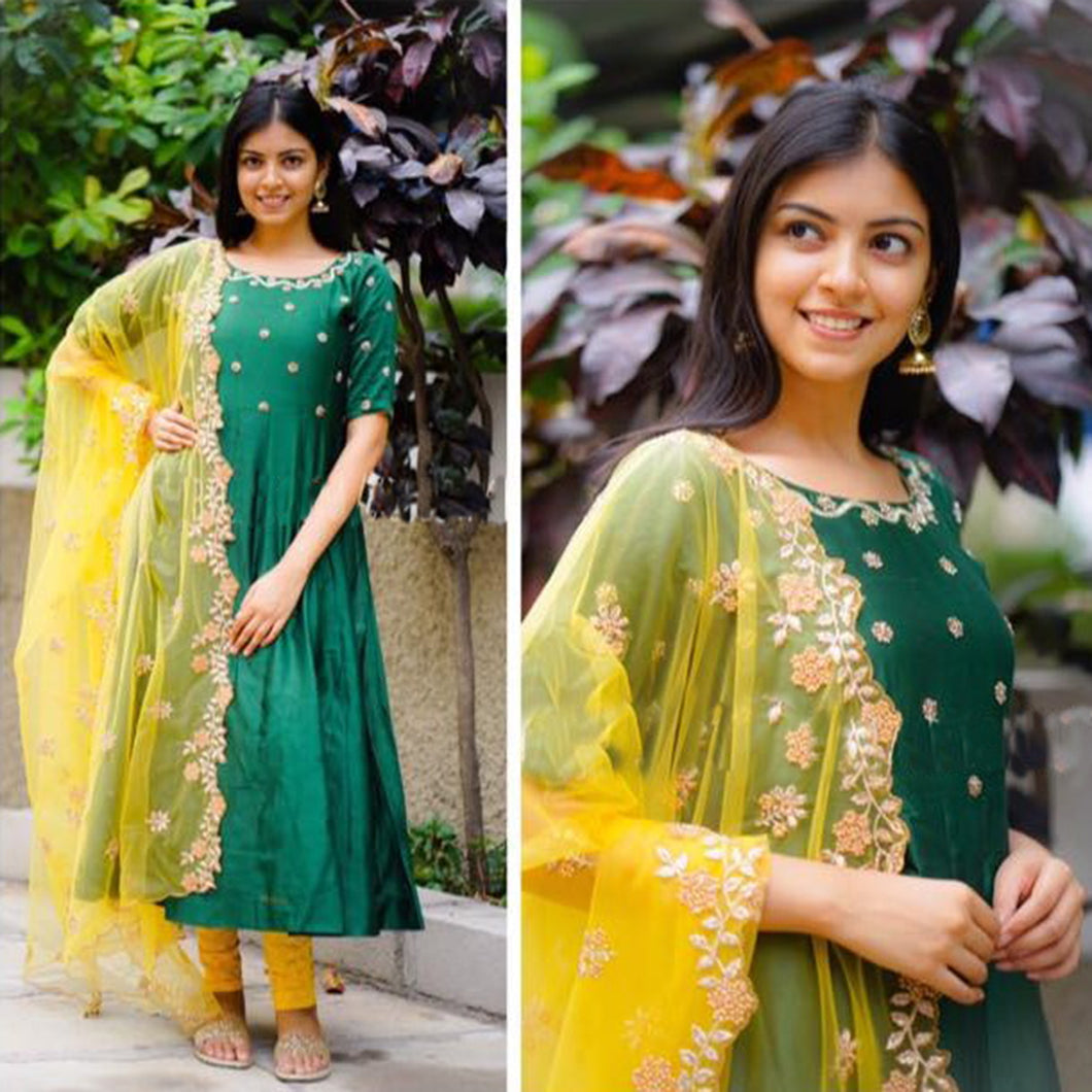 Sparkly Green Color Suit With Dupatta