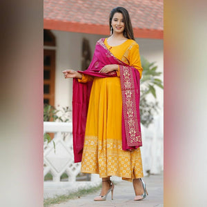 Glamorous Musturd Color Suit With Dupatta