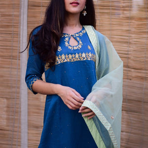 Attactive Royal Blue Color Suit with Dupatta