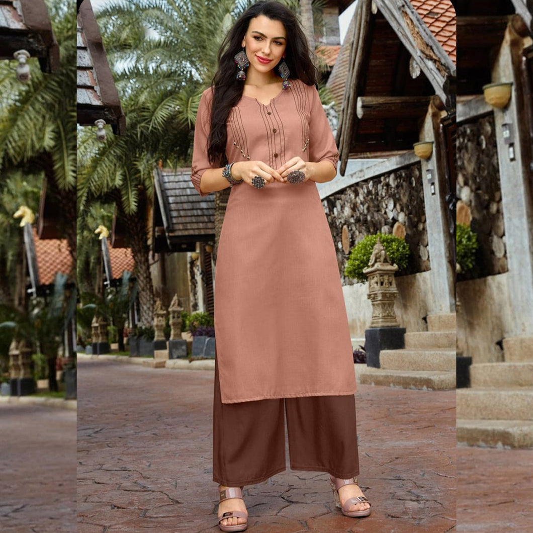 Light Peach Color Beautiful Straight Kurti